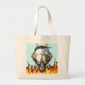 Chrome human skull design 3 with fire and web tote bags