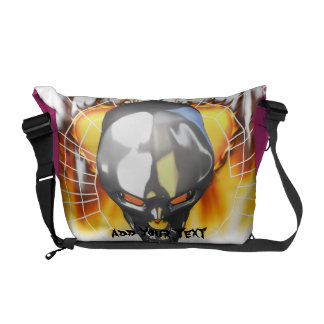 Chrome human skull design 3 with fire and web messenger bag