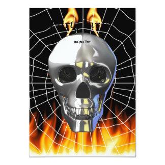 Chrome human skull design 4 with fire and web. 13 cm x 18 cm invitation card