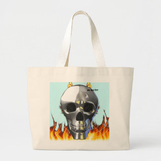 Chrome human skull design 4 with fire and web. tote bags