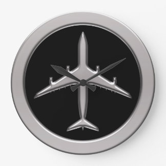 Chrome Jet Airplane Large Clock