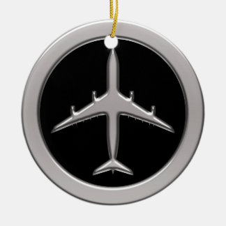 Chrome Jet Airplane Round Ceramic Decoration