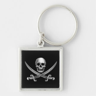 Chrome Jolly Roger Key Ring