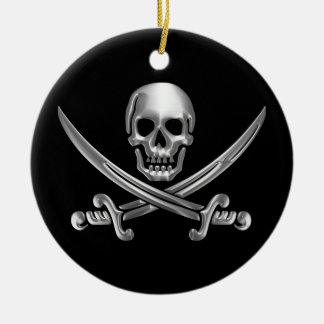 Chrome Jolly Roger Round Ceramic Decoration