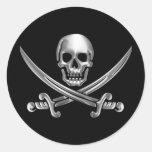 Chrome Jolly Roger Round Sticker