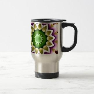 Chrome Kaleidoscope Flower Green and Purple Stainless Steel Travel Mug