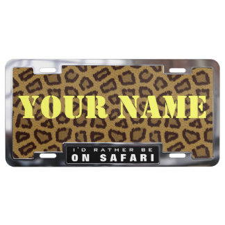 Chrome License Plate Frame with Leopard Skin Bkgrd