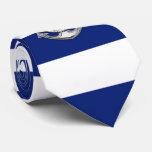 Chrome Lifesaver on Nautical Navy Blue Stripes Tie
