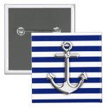 Chrome Like Anchor Design on Navy Stripes 15 Cm Square Badge