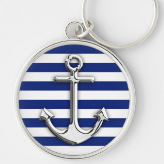Chrome Like Anchor Design on Navy Stripes Silver-Colored Round Key Ring