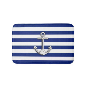Chrome Like Anchor Nautical Navy Blue Stripes Bath Mat