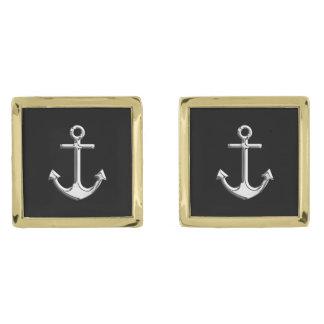 Chrome Like Anchor Nautical on Black Gold Finish Cuff Links