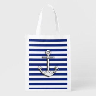 Chrome Like Anchor on Navy Blue Stripes decor