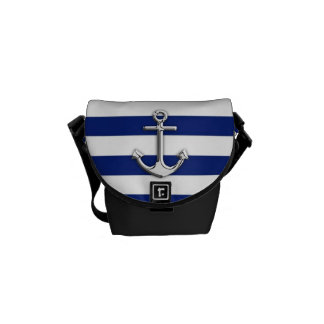 Chrome Like Anchor on Navy Blue Stripes decor Commuter Bags