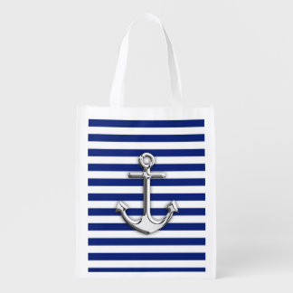 Chrome Like Anchor on Navy Blue Stripes decor Reusable Grocery Bag