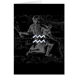 Chrome like Aquarius Zodiac Sign on Hevelius Card