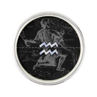 Chrome like Aquarius Zodiac Symbol on Hevelius Lapel Pin