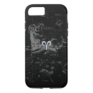 Chrome like Aries Zodiac Symbol on Hevelius 1690 iPhone 7 Case