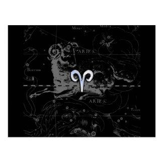 Chrome like Aries Zodiac Symbol on Hevelius 1690 Postcard