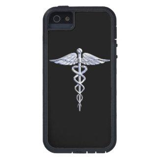 Chrome Like Caduceus Medical Symbol Black Decor Case For The iPhone 5
