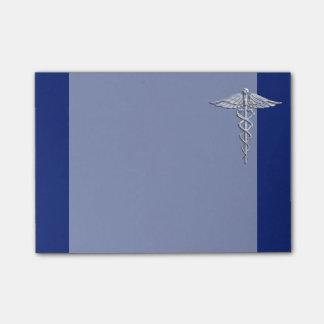 Chrome Like Caduceus Medical Symbol on Blue Decor Post-it Notes