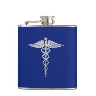 Chrome Like Caduceus Medical Symbol on Navy Blue Flasks