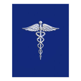 Chrome Like Caduceus Medical Symbol on Navy Blue Personalized Flyer