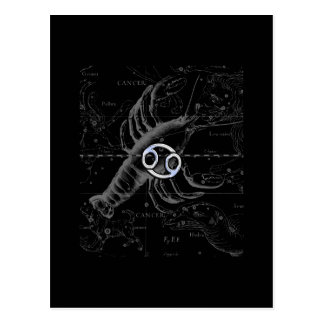 Chrome like Cancer Zodiac Sign on Hevelius Postcard