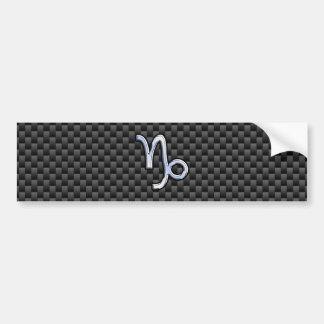 Chrome like Capricorn Sign Black Carbon Fiber Bumper Sticker