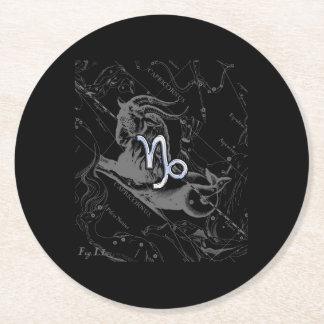 Chrome like Capricorn Zodiac Sign on Hevelius Round Paper Coaster