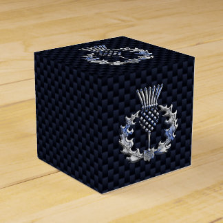 Chrome Like Carbon Fiber Print Scottish Thistle Favour Box