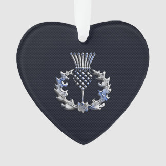 Chrome Like Carbon Fiber Print Scottish Thistle Ornament
