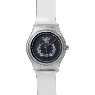 Chrome Like Carbon Fiber Print Scottish Thistle Watch