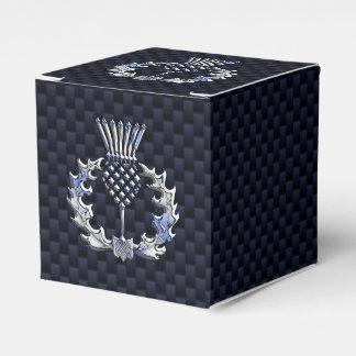 Chrome Like Carbon Fiber Print Scottish Thistle Wedding Favour Box