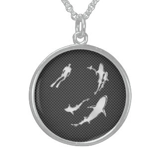 Chrome Like Diver with Sharks on Carbon Fiber Sterling Silver Necklace