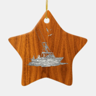 Chrome Like Fishing Boat on Teak Wood Christmas Ornament