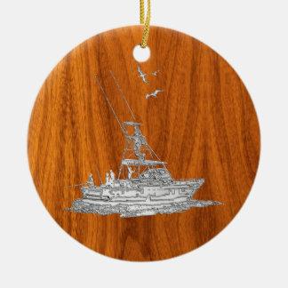 Chrome Like Fishing Boat on Teak Wood Christmas Ornament