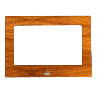 Chrome Like Fishing Boat on Teak Wood Decor Magnetic Frame