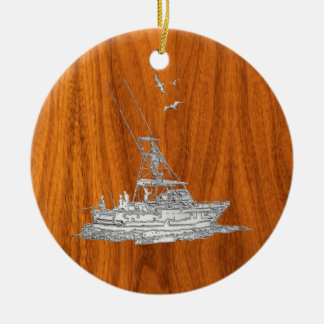 Chrome Like Fishing Boat on Teak Wood Round Ceramic Decoration