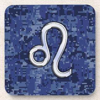 Chrome Like Leo Sign on Navy Blue Digital Camo Coaster