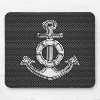 Chrome Like Lifesaver Anchor on Carbon Fiber Mouse Mat
