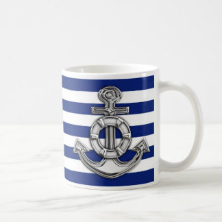 Chrome Like Lifesaver on Navy Stripes Coffee Mug