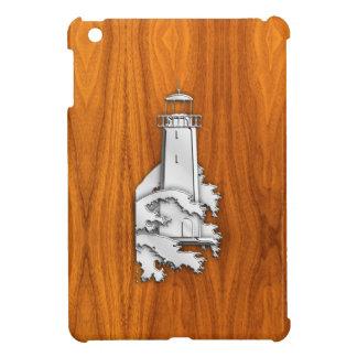 Chrome Like Lighthouse on Teak Wood Cover For The iPad Mini