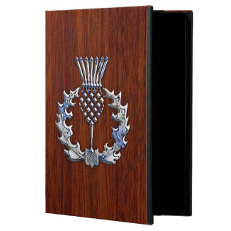 Chrome Like Mahogany Wood Grain Scottish Thistle iPad Air Cover