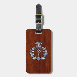 Chrome Like Mahogany Wood Grain Scottish Thistle Luggage Tag