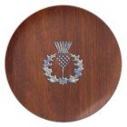 Chrome Like Mahogany Wood Grain Scottish Thistle Plate