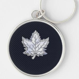 Chrome Like Maple Leaf on Carbon Fiber black Silver-Colored Round Key Ring