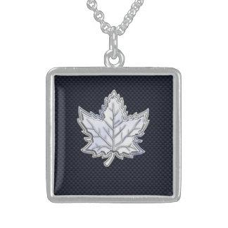 Chrome Like Maple Leaf on Carbon Fiber black Sterling Silver Necklace