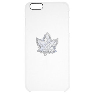 Chrome Like Maple Leaf on Carbon Fiber Print Clear iPhone 6 Plus Case