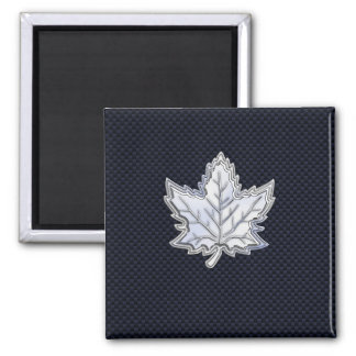 Chrome Like Maple Leaf on Carbon Fiber Print Refrigerator Magnet